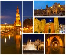 Set of photos with views of night seville, spain Stock Photos