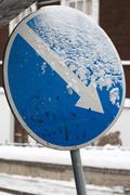 Keep right sign with diagonal directional arrow. Stock Photos