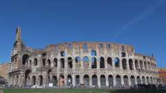 Tourism attraction Great Colosseum forum sunny day Rome iconic place inner wall  Stock Footage