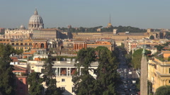 Panorama Rome skyline tourism attraction crowded street Vatican church day icon Stock Footage