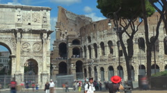 Timelapse tourist people visit Rome Arch Constantine Great Colosseum forum day  Stock Footage