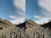 Stock Video Footage of 3d timelapse shot from between the train tracks