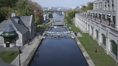 4K Time lapse close up Rideau Canal with locks, Ottawa, Canada Stock Footage