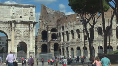 Rome landmark Arch Constantine Great Colosseum forum tourism attraction day icon Stock Footage