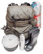 Expedition equipment isolated on white background Stock Photos