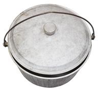 Top view of camping sooty pot isolated on white Stock Photos