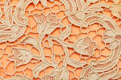 Detail of dutch lace embroidered by needle Stock Photos