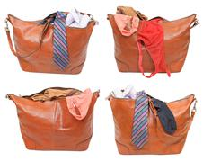 Set of handbags with female and male clothes Stock Photos