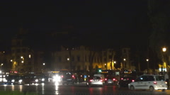 Traffic street congestion road Rome busy downtown night people commute travel  Stock Footage