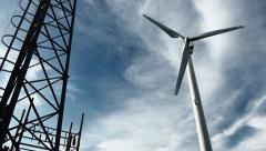 Wind power turbine alternative energy generation industrial background 4K video Stock Footage