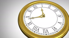 Golden roman numeral clock ticking Stock Footage