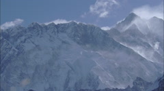 White Snow Himalaya Mountains Valley Stock Footage