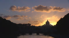 Beautiful sunset sunrise San Pietro basilica Vatican Dome Rome landmark icon day Stock Footage