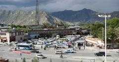 4k Lhasa traffic,Tibet.dark clouds rolling mountains. Stock Footage