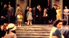 Middle America ,1949,   wedding crowd at church Stock Footage