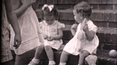Middle America ,1949, play day on porch Stock Footage
