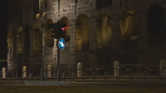 Traffic street Great Colosseum forum Rome commuter night ancient wall arena icon Stock Footage