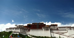 4k time lapse white puffy cloud mass rolling over Potala in Lhasa,Tibet. Stock Footage