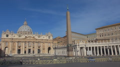 Timelapse tourist people visit Vatican cathedral Rome landmark crowded square  - stock footage