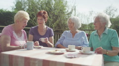 Happy female senior friends chatting and laughing together outdoors - stock footage