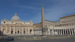 Police car Vatican Square Rome iconic place dome church San Pietro landmark day  Stock Footage