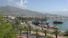 Pirate ships docked in Alanya harbour - stock footage