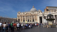 Timelapse people line row visit Vatican cathedral Rome landmark sunny day iconic Stock Footage