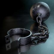 Ball and chain dark Stock Illustration