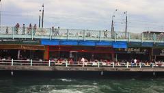 Galata Bridge restaurants Stock Footage