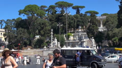 Timelapse traffic pedestrian people square visit Pincio hill Rome area crowded  Stock Footage