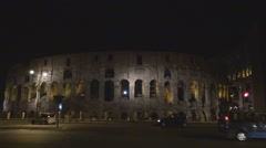 Traffic street Great Colosseum forum busy road ancient arena Rome landmark icon Stock Footage