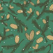 fir pine cone seamless pattern - stock illustration