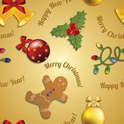 Stock Illustration of new year pattern gingerbread man, mistletoe, garland and christmas ball