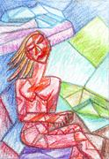 Girl with eyes closed cubism Stock Illustration