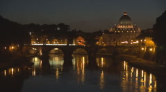 Vatican basilica dome Rome iconic place water reflection traffic bridge twilight Stock Footage