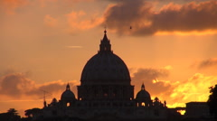 Timelapse Vatican dome church cathedral silhouette Rome landmark sunrise sunset  - stock footage