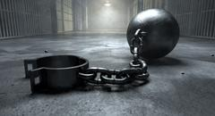 ball and chain in prison - stock illustration