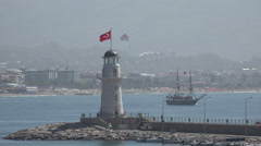 Alanya harbour lighthouse Stock Footage