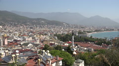 High viewpoint of Alanya skyline Stock Footage