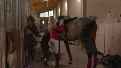 Girl Stable Horse - stock footage