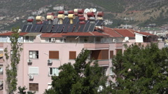 Rooftop solar water heaters, Alanya Stock Footage