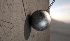 Stock Illustration of wrecking ball hitting wall