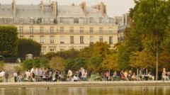 Paris park pond TL 4K Arkistovideo