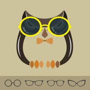 Vector images of owl and glasses on brown background. Stock Illustration