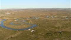 Meandering river in tundra - stock footage