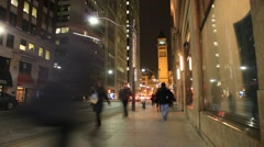 Toronto Bay Street Rush Hour Traffic People Time Lapse Stock Footage