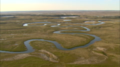 Tundra with snaking river Stock Footage