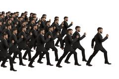 marching clones follow leader, studio shot - stock illustration