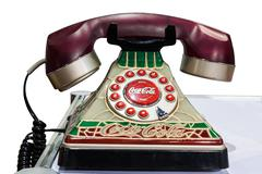 Isolated coca-cola 2001 tiffany stained glass look telephone with clipping pa Stock Photos