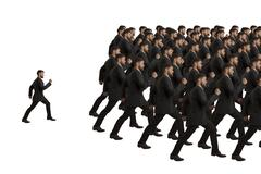 Marching clones and individual, studio shot Stock Illustration